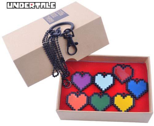 Momoso_Store undertale sans frisk love necklace determination bravery pendant keychain set custume -