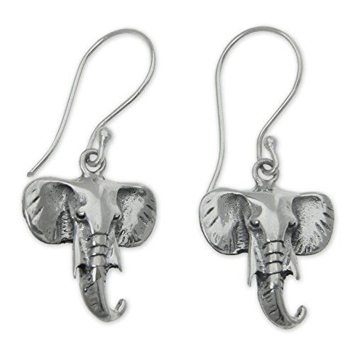 NOVICA Sterling Earrings Balinese Elephants product image