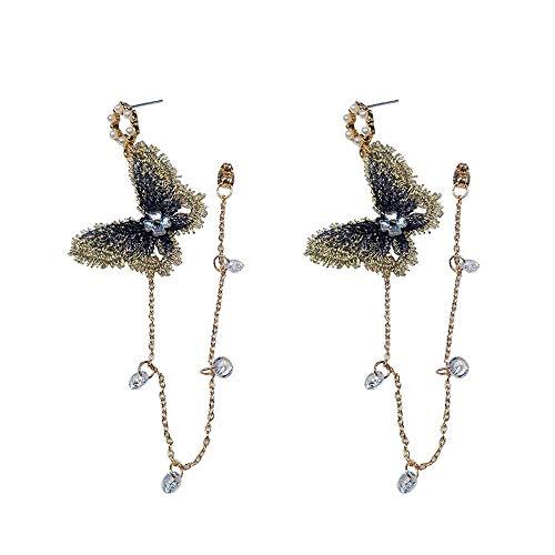 iMakcc New 1 Pair Fashion Lady Women Thin Long Fairy Butterfly Diamond Earrings (Multicolor)