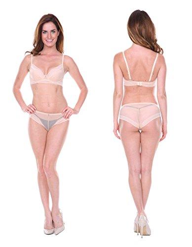 Women's Bra Sets Underwear Panties 2 PCS Lingerie (36B/S, Beige)