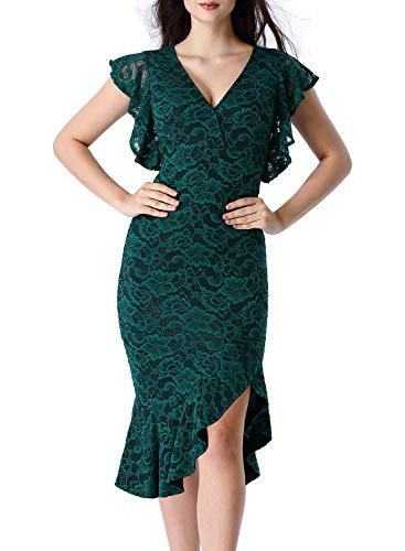 VFSHOW Womens Green Floral Lace Elegant Ruffles Cocktail Party Mermaid Wiggle Midi Dress 1721 GRN XS ()