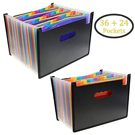 Multicolored Expanding Files Folder(24 + 36 Pockets) - Penck Portable A4  Expandable Accordion File Organizer, High Capacity Plastic Stand Bag with