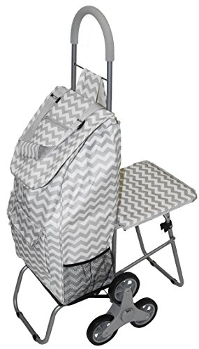 (dbest products Stair Climber Trolley Dolly with Seat, Grey Chevron Shopping Grocery Foldable Cart Tailgate)