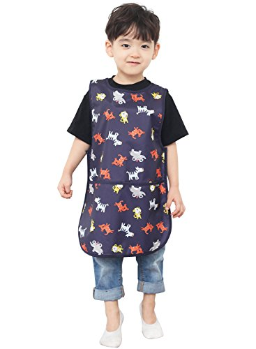 03 Paint Protection - Plie Children Waterproof Sleeveless Art Smock Apron with Pockets, Navy Animal (03-XL)