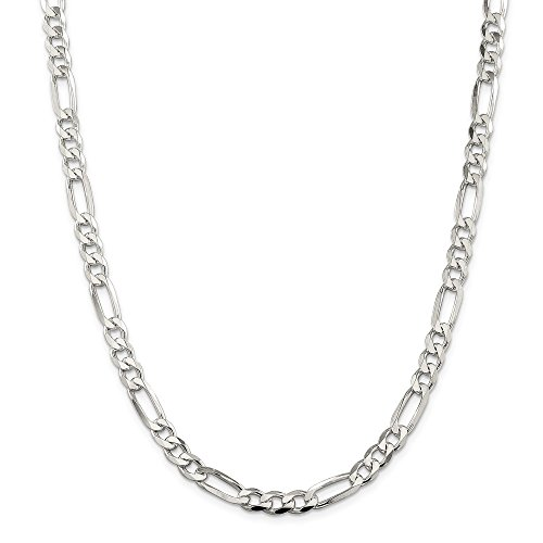 925 Sterling Silver 7mm Flat Link Figaro Necklace Chain Pendant Charm Pave Pav? Fine Jewelry Gifts For Women For Her ()