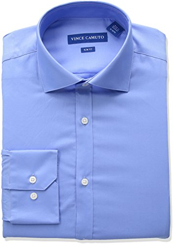 VINCE CAMUTO Men's Slim Fit Spread Collar Solid Dress Shirt, French Blue 17 34/35 ()