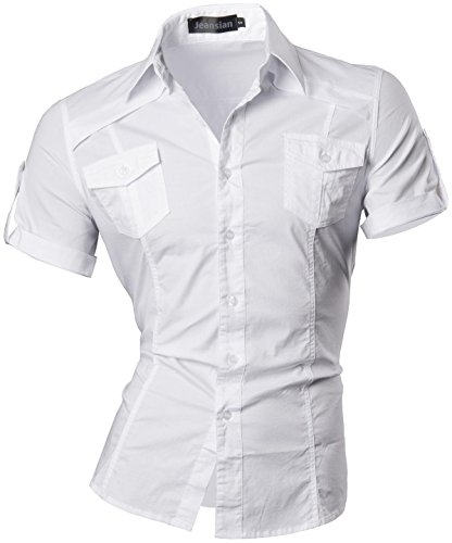 Jeansian Courte Tops Shirt Manche 8360 white Chemises Slim Men Casual Fit 8360 Mode Homme AFHqwrBA