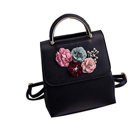 (Fashion Women Flap Bags, NEARTIME Ladies Floral Backpack Appliques Leather Shoulder Versatile Two Hand Bag Satchels)