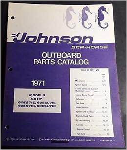 1971 JOHNSON OUTBOARD MOTOR 60 HP P/N 386215 PARTS MANUAL (204