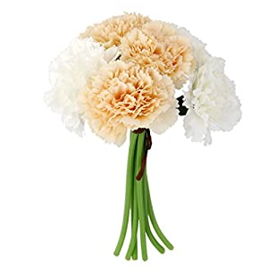MagiDeal Artificial Silk Flower Carnation Bouquet Wedding Home White and champagne 14