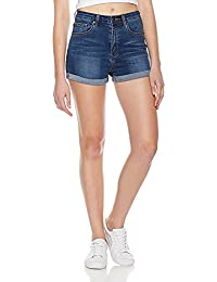 Women's Classic Stretchy Mid Rise Folded Hem Denim Shorts