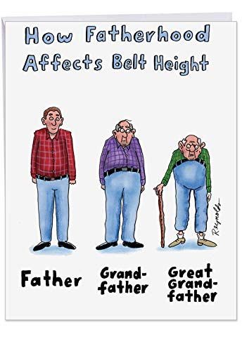 Jumbo Humor Father's Day Greeting Card: Belt Height; With Envelope (Large Size: 8.5
