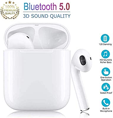 Auriculares inal/ámbricos Bluetooth In-Ear Mini Auriculares Auriculares Deportivos para Apple Airpods iPhone Android Blanco Auriculares Bluetooth