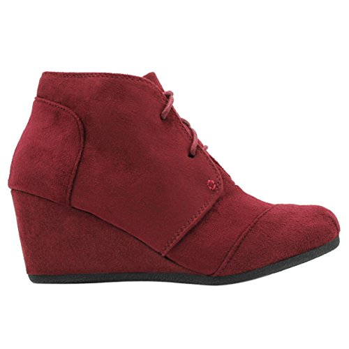 Suede Round Up Burgundy Boots Wedge Lace Booties Ankle Toe Women's Heels UqaxYHwPdP