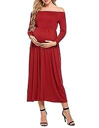 ACEVOG Women's Cowl Neck Off Shoulder Long Sleeve Maxi Maternity and Nursing Dress