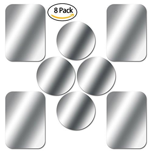 Skyee [8 Piezas laminas Metalicas con 3M Adhesivos Muy Finas Reemplazo de la Placas Metalicas para Soporte del Coche del Telefono (4 Redondas y 4 rectangulares) iman movil Coche - Plata