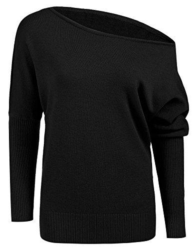 ELESOL women Long Sleeve Sexy Off Shoulder Loose Pullovers Sweatshirts Black S