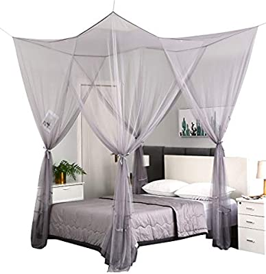 Amazon Com Mengersi 4 Corner Post Elegant Mosquito Net Canopy Bed Curtains For Full Queen King Bed Suitable For Indoor Outdoor Net Gray L87xw79xh98 Inch Home Kitchen