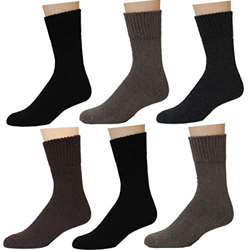 Thick Casual Cotton Warm Lamb's Wool Thermal Winter Crew Socks 3 Or 6 Pairs By Frenchic (Multi #1-6 Pairs)