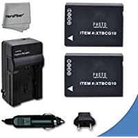 2 High Capacity Replacement Panasonic DMW-BGC10 / DMW-BGC10PP Batteries with AC/DC Quick Charger Kit for Panasonic Lumix DMC-3D1, DMC-TZ6, DMC-TZ10, DMC-TZ18, DMC-TZ19, DMC-TZ20, DMC-TZ25, DMC-TZ30, DMC-TZ35, DMC-ZR1, DMC-ZR3, DMC-ZS1, DMC-ZS5, DMC-ZS6, DMC-ZS7, DMC-ZS8, DMC-ZS9, DMC-ZS10, DMC-ZS15, DMC-ZS19, DMC-ZS20, DMC-ZS25, DMC-ZX1, DMC-ZX3 Digital Cameras