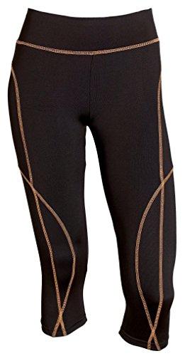 Sportoli Women Active Workout Compression Base Layer Capri Leggings Tights Pants - Black/Neon Orange (Large)