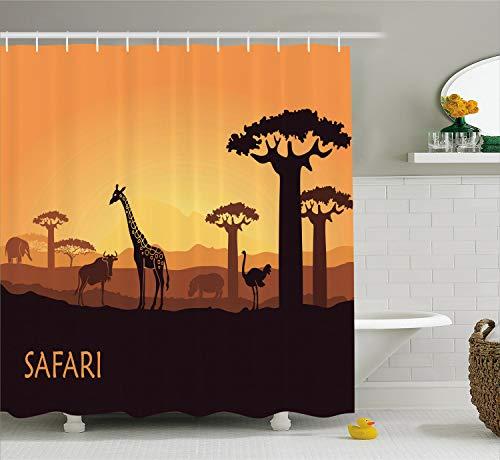 Ambesonne Safari Shower Curtain, Sunset a Giraffe Ostrich Hippo Adventure Exotic Pastoral Wilderness, Cloth Fabric Bathroom Decor Set with Hooks, 70