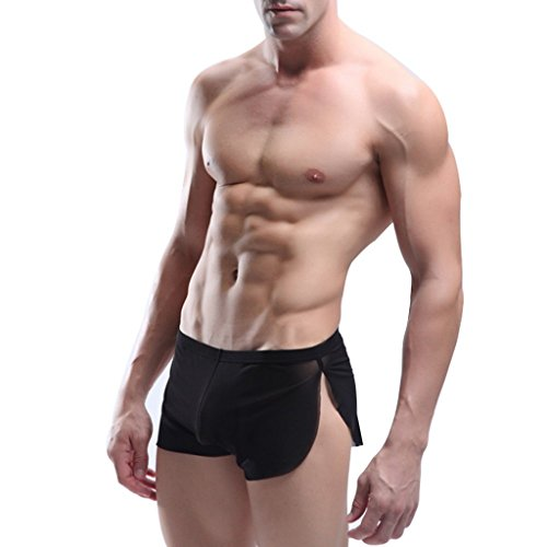 YiZYiF Men's Mesh Boxer Briefs Underwear Transparent Shorts Black Medium