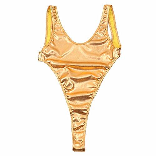 FEESHOW Una Pieza Traje de Baño de cuero Ropa Mujer Bañador Halter Playa Bikini Tankini Dorado