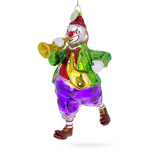 BestPysanky Clown Playing Trumpet Blown Glass Christmas Ornament