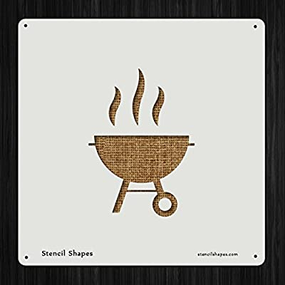 Barbecue Barbeque Bbq Charcoal Grill Cook , Style 7161 DIY Plastic Stencil Acrylic Mylar Reusable from StencilShapes