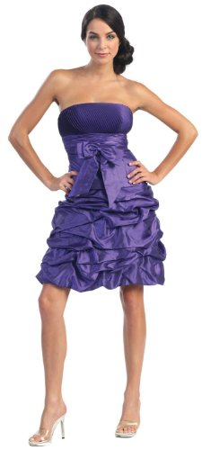 Strapless Bow Pick-up Formal Bridesmaid Prom Dress #505 (20, Purple)