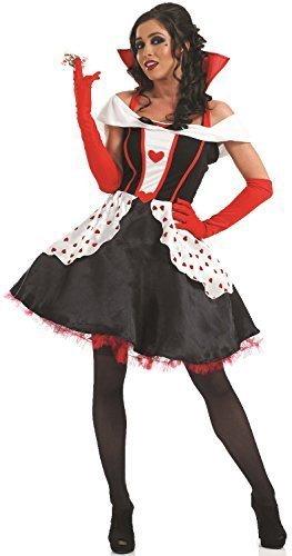 Ladies Longer Length Queen of Hearts Alice in Wonderland Book Day Halloween Fancy Dress Costume Outfit 8-30 Plus Size (UK 20-22) Black ()