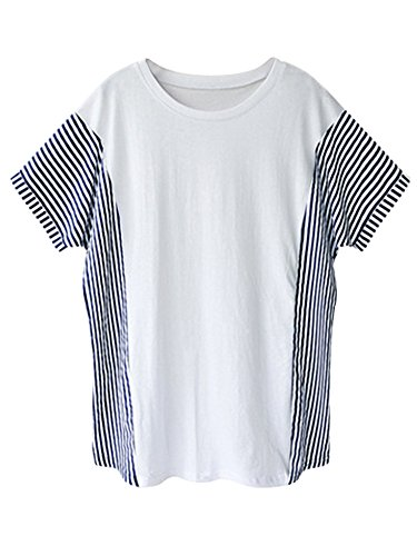 OCHENTA Damen T-Shirt Lockere saum Streifen Sommer Kurzarm Weiß