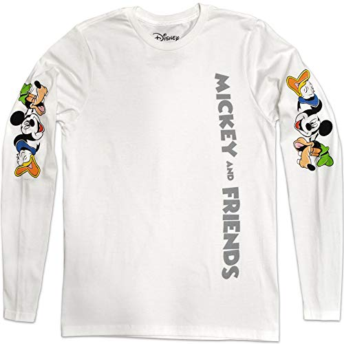 Disney Mickey Mouse Friends Good Laugh Donald Duck Goofy Disneyland World Funny Graphic Adult Men's Long Sleeve T-Shirt (White, Large)