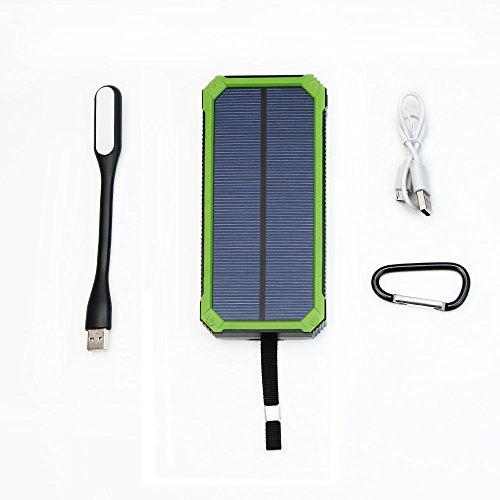 X-DRAGON 15000mah Solar Ladegerät Regenbestädiges, Staubdichtes und Stoßfestes Duale USB Ports Power Bank Externe Akku Backup Batterie für iPhone, iPad, Handy, Tablet, Kamera usw.(Grün)