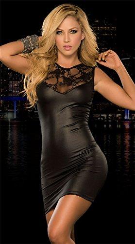 Ostenx Sexy cuello en V vestido de noche largo Maxi vestido de fiesta elegante lentejuelas llamativo piel sintética - Black