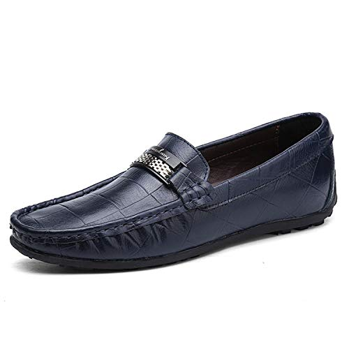 Genuine Leather Men Shoes Luxury Brand Loafers 2019 Italian Designer Mens Shoes,Blue,10