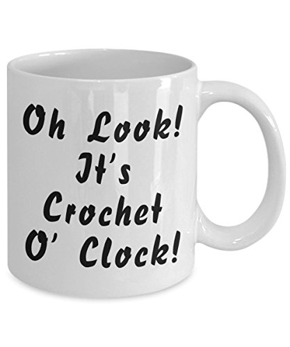 Funny Crocheting Mug - Oh Look It's Crochet O' Clock - White Ceramic Cup By Omtheo ()