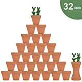"32pcs Small Mini Clay Pots, 2"" Terracotta Pot Clay Ceramic Pottery Planter, Cactus Flower Nursery Terra Cotta Pots, with Drainage Hole, for Indoor/Outdoor Succulent Plants, Crafts, Wedding Favor"