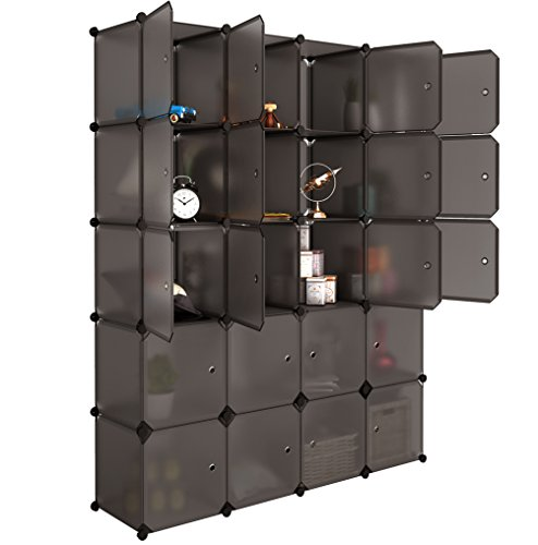 20 Cube Organizer Stackable Plastic Cube Storage Shelves Design Multifunctional Modular Closet Cabinet with Hanging Rod for Clothes Shoes Toys Bedroom Living Room (Transparent Brown)