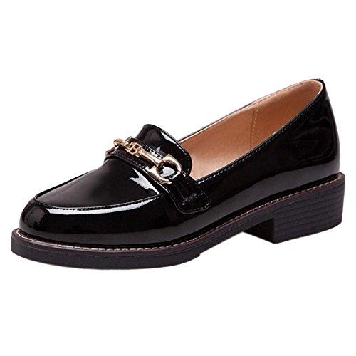 COOLCEPT Women Chunky Heels Pumps Shoes Black gikDZ8Gte