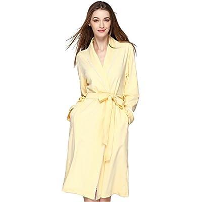 LOVEHOUSE Womens Cotton Bathrobe Long, Lapel V-Neck Long Sleeve Lace Trim Loose Robe Sleepwear Nightgowns Loungewear