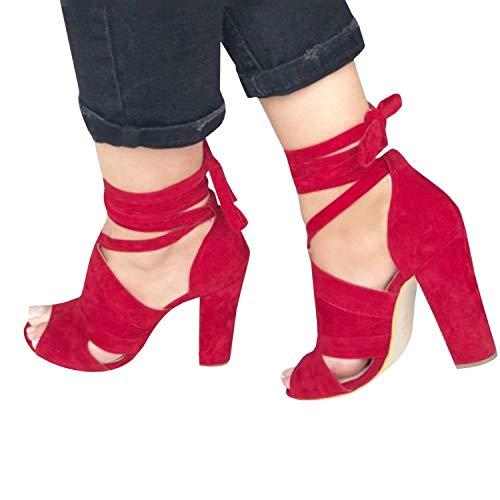 Femme Bouche Été Bloc Shoes Mode Rouge B Talons Hauts Minetom de Poissons Décontractée de Sandale Plage Printemps Couleur Bonbon Chaussures FqWwRCdx
