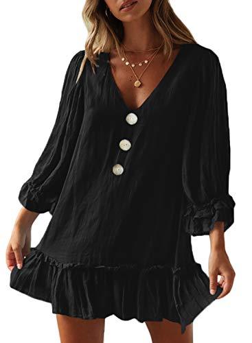 - Dokotoo Womens Fashion Autumn Solid Ladies Casual Loose Fit Button V Neck Long Balloon Sleeve Ruffle Hem Plain Swing Tunic Shift Short Mini Dress Black Large