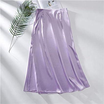 HEHEAB Falda,La Mujer Púrpura Falda De Satén De Seda Vintage ...