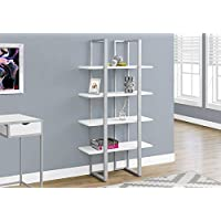 Monarch I 7238 Bookcase-60 H Silver Metal, White