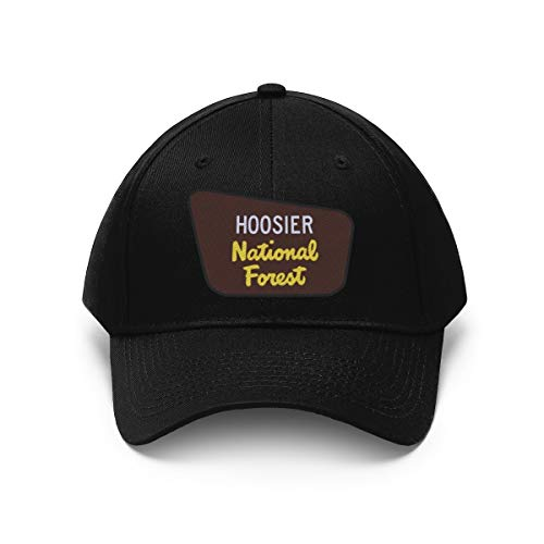 Camp & Craft Hoosier National Forest Embroidered Twill Cap - Outdoors Hat for Camping, Hiking, Hunting, Fishing Black