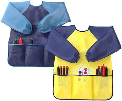 Kids Art Smocks Pack of 2 - Children Artist Painting Aprons Waterproof and Long Sleeve with 3 Roomy Pockets for Boys and Girls Age 2-6 Years Old