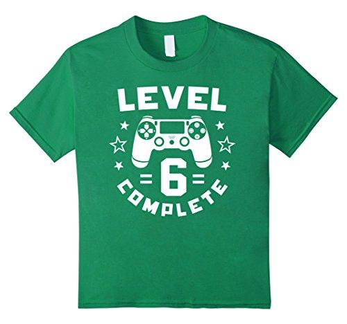 kids-level-6-complete-video-gamer-geek-boys-6th-birthday-shirt-6-kelly-green