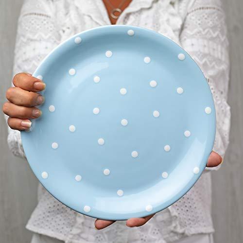 City to Cottage Handmade Light Sky Blue and White Pottery Polka Dot Glazed 10inch/25.5cm Flat Dinner Plate | Ceramic Unique Dinnerware, Housewarming Gift